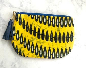 Yellow African Print Wax Cloth Pouch, Small Pouch