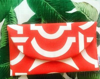 Orange Clutch Bag, Orange Geometric Clutch Bag, Hostess Gift, Bridesmaids Gift, Summer Bag, Gift Guide