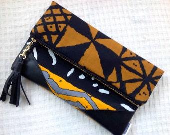 Tribal Clutch, African Print Foldover Clutch Bag, Essoka Clutch