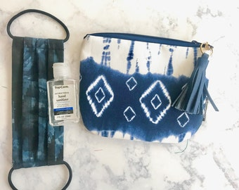 Blue Tie Dye Print Pouch, Blue Pouch, Small Blue Pouch, Bridesmaids Gift