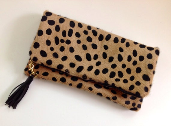 distinctive design on sale online available Leopard Print Fold Over Clutch, Cheetah Calf Hair Foldover Clutch with  Leather Tassel