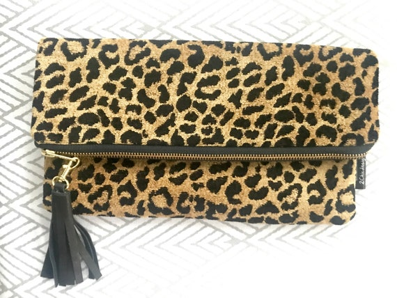 fast color enjoy bottom price new products for Leopard Print Foldover Clutch,