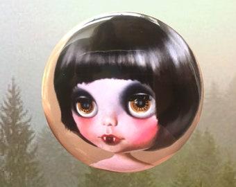Blythe Doll - Pocket Mirror vampire bat girl art Big Eyes teeny fangs
