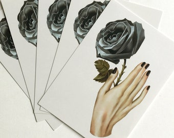 5 x Cards Black Magic black rose Gypsy Witchy Woman love