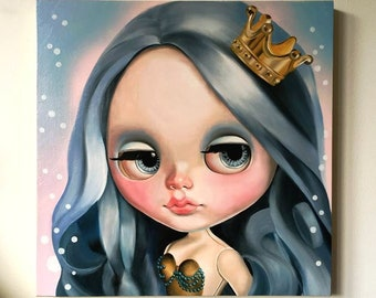 RESERVE SARAH 2/8 Mermaid Blythe Doll Oil Painting on wood panel Lowbrow Pop Art big eyes art