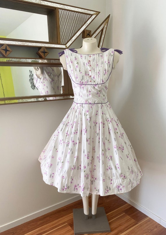 Vintage 50s 60s Floral Full Skirt Day Dress