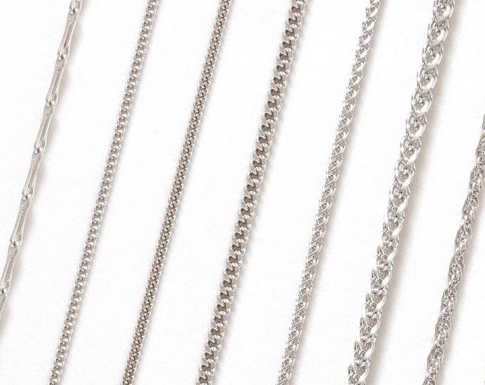 9ct White Gold Chain, Curb Chain, Belcher Chain, Rope Chain, Barleycorn Chain, Spiga Chain, Trace Chain, DIY Chain Necklace