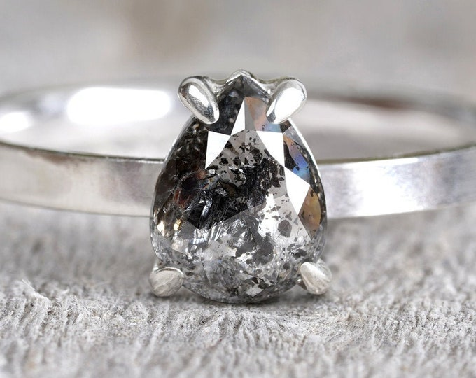 0.77ct Salt & Pepper Diamond Engagement Ring, Pear Shape Diamond Solitaire Ring