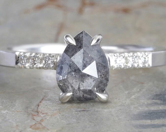 Salt & Pepper Diamond Engagement Ring with Shoulder Diamonds, 1.2ct Grey Diamond Engagement Ring