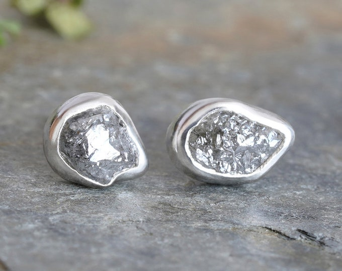 1.05ct Rough Diamond Stud Earrings, Natural French Grey Diamond Studs, Diamond Wedding Gift