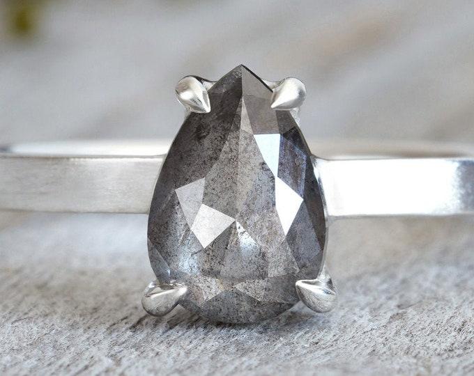 1.03ct Salt & Pepper Diamond Engagement Ring, Pear Shape Diamond Ring