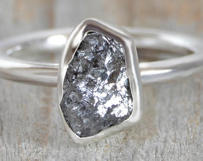 1.45ct Dark Grey Rough Diamond Engagement Ring, Raw Diamond Ring, Handmade In England