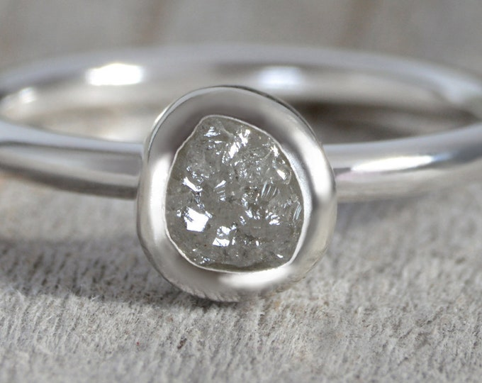 0.8ct Silver Grey Diamond Engagement Ring, Silver Grey Rough Diamond Engagement Ring, Handmade In England