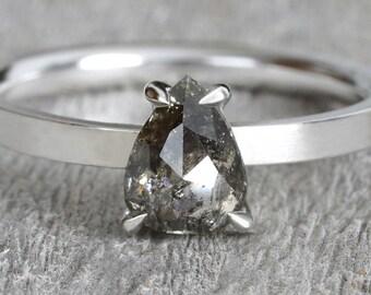 0.9ct Salt & Pepper Diamond Engagement Ring, Pear Shape Diamond Ring