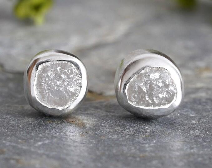 Rough Diamond Stud Earrings, Total 0.85ct Diamonds, Natural Grey Diamond Studs, Diamond Wedding Gift Handmade in England