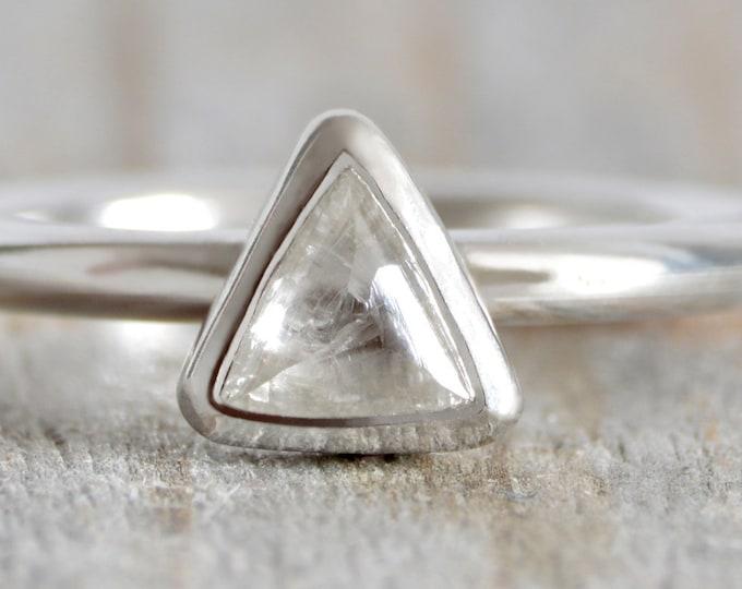 0.62ct Icy White Diamond Engagement Ring, Raw Diamond Ring, Handmade In England