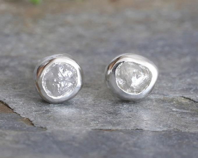 0.85ct Rough Diamond Stud Earrings, Natural Grey Diamond Studs, Raw Diamond Ear Posts