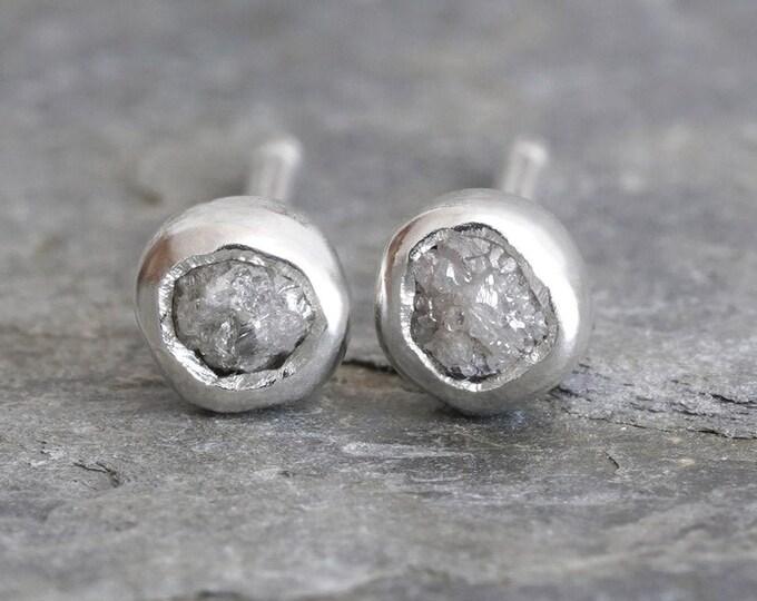 Grey Diamond Stud Earrings, Rough Diamond Ear Posts, Total 0.2ct Diamond Stud Earrings