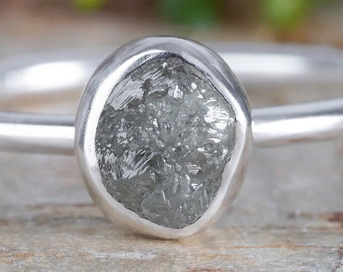 Raw Diamond Engagement Ring, 0.75ct Dark Grey Diamond Ring, Handmade In England