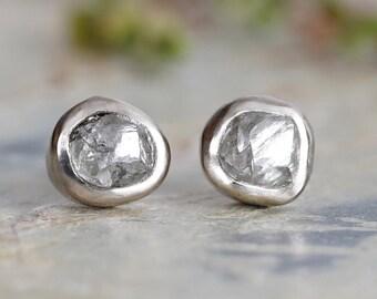 Rough Diamond Stud Earrings, Natural Grey Diamond Stud Earrings, Diamond Ear Posts, Made to Order
