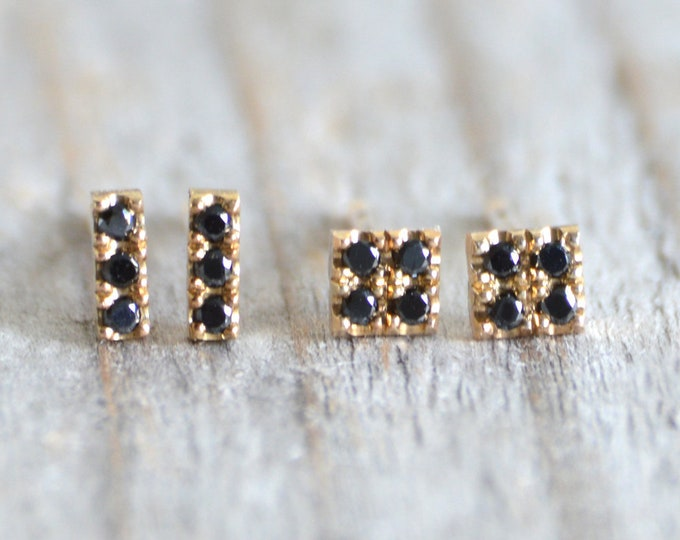 Black Diamond Stud Earrings with Yellow Gold, Small Black Diamond Stud Earrings, Everyday Diamond Stud Earrings, Made in England