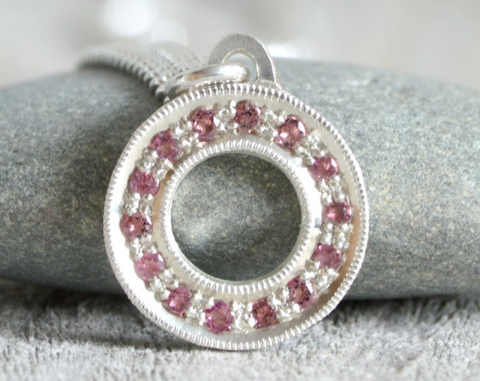 Pave Tourmaline Necklace in Sterling Silver, Pink Tourmaline Necklace, Pave Necklace, October Birthstone Necklace