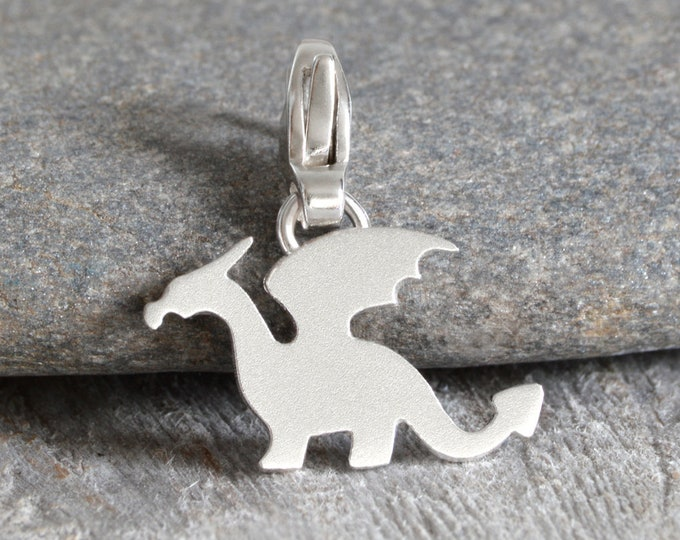 Dragon Charm for Bracelet in Sterling Silver, Silver Dragon Charm, Handmade in the UK