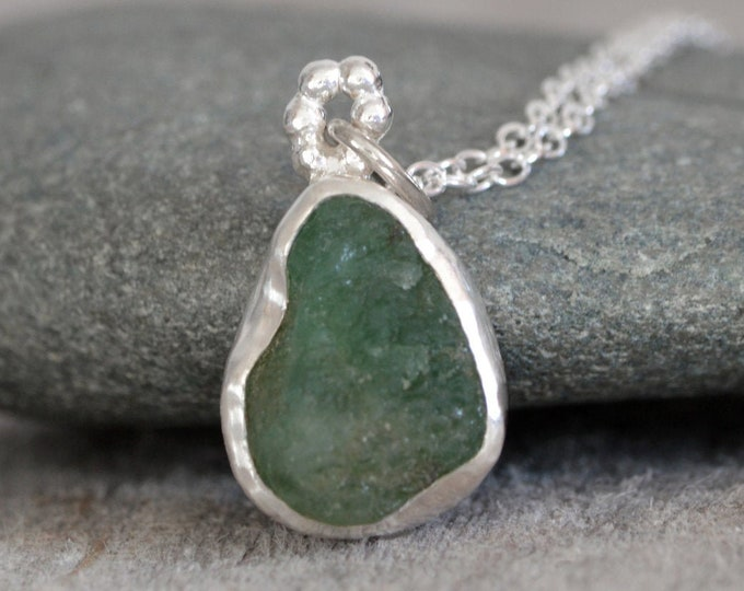 Raw Emerald Necklace, Rough Emerald Necklace, May Birthstone, 3.6ct Emerald Necklace Handmade in the UK