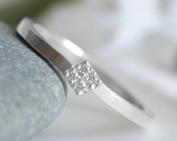 Slim Diamond Engagement Ring, Engagement Ring with 4 Diamonds, 4 Diamonds Engagement Ring, Diamond Stacking Ring, Made To Order