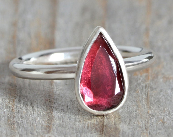1.10ct Garnet Ring in Sterling Silver, Handmade in the UK