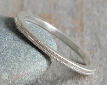 Milgrain Wedding Band, Slim Wedding Ring, Slim Stacking Ring, 1.5mm Silver Stacker