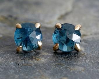 Kyanite Stud Earrings, Rose Cut Kyanite Ear Posts