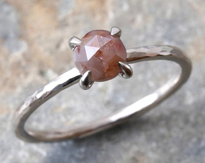 Rose Cut Diamond Engagement Ring in 18ct White Gold, 0.65ct Diamond Ring, Rustic Diamond Ring