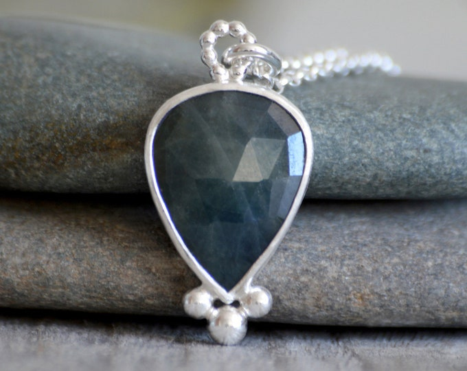 Sapphire Necklace, Something Blue Wedding Gift, September Birthstone, 7.15ct Sapphire Necklace