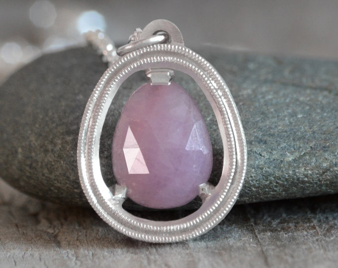 Pink Sapphire Necklace in Sterling Silver, Rose Cut Sapphire Necklace, Large Sapphire Necklace Handmade In The UK