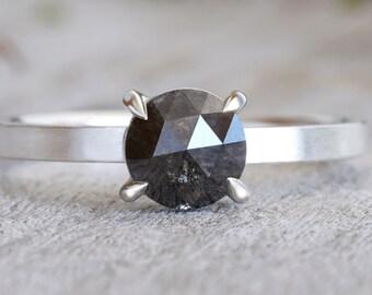 Salt & Pepper Diamond Engagement Ring, Round Diamond Ring, Prong Set Diamond Ring
