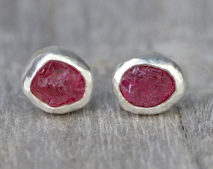 Rough Ruby Stud Earrings, Raw Ruby Stud Earrings, Ruby Wedding Gift, Rough Ruby Ear Posts