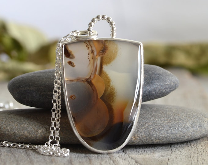 Large Agate Necklace with Recycled Sterling Silver, Statement Necklace, Handmade in the UK