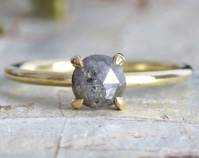 French Grey Diamond Ring in 18ct Yellow Gold, Rustic Diamond Ring