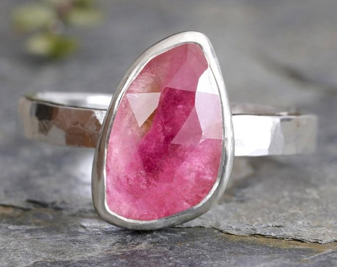 Pink Tourmaline Ring, 1.8ct Tourmaline Ring, October Birthstone Ring