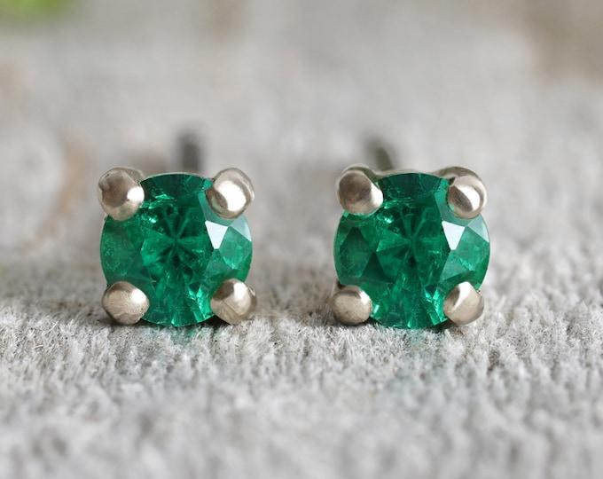 Emerald Stud Earrings in 18ct White Gold, Handmade in the UK