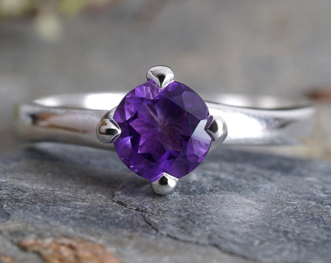 6mm Amethyst Ring in Sterling Silver, Amethyst Solitaire Ring, February Birthstone Ring