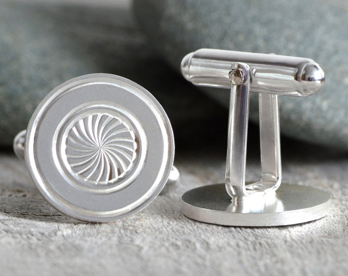 Hand Engraved Cufflinks in Sterling Silver, British Cufflinks Handmade in the UK