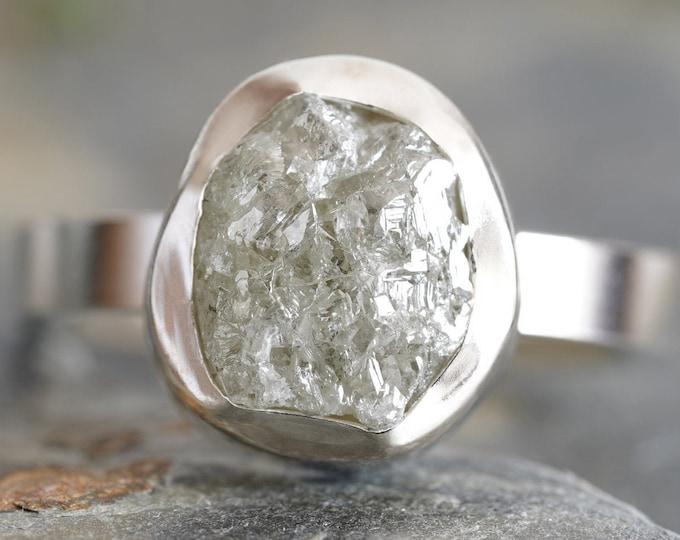 3.10ct Silver Grey Diamond Engagement Ring, Large Rough Diamond Engagement Ring, Handmade In England