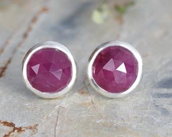 Pink Sapphire Stud Earrings, 8mm Sapphire Ear Posts