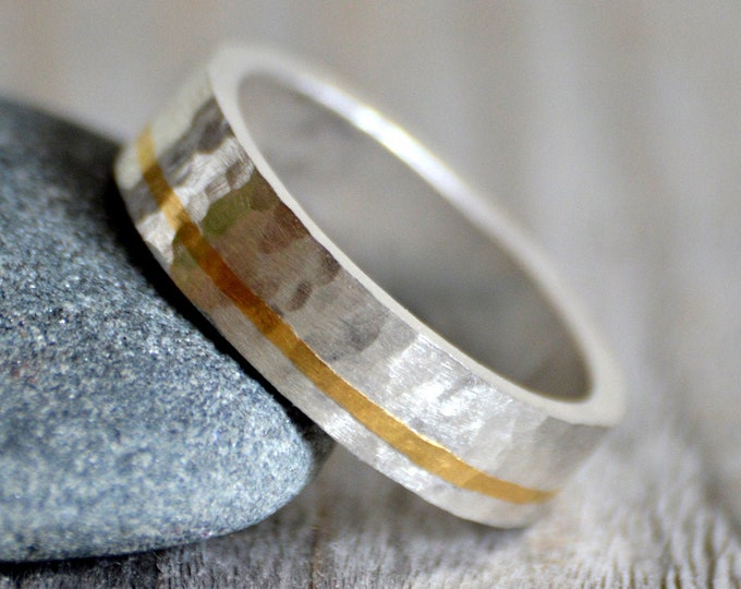 Hammered Effect Wedding Band with 24K Gold Inlay, Rustic Wedding Band with 24K Gold Inlay, 5mm Wide Wedding Ring