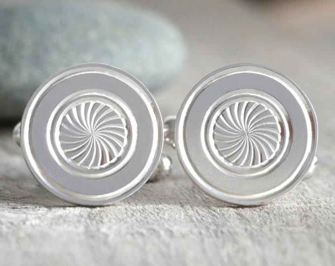 Radial Cufflinks in Sterling Silver, Hand Engraved Cufflinks, Classic Cufflinks Handmade in the UK