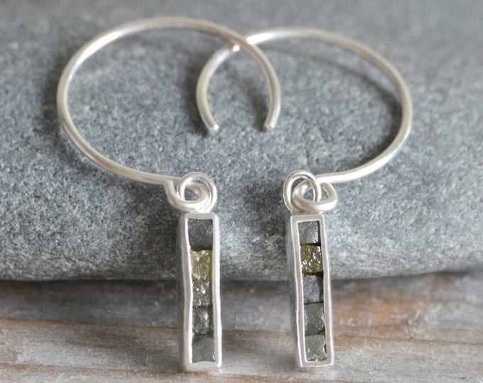 Raw Diamond Mosaic Earring, Diamond Cube Earring