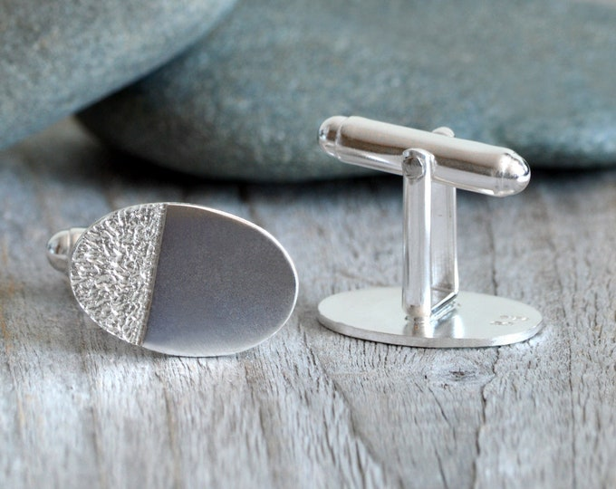 Oval Cufflinks with Textured Surface, Classic Cufflinks in Sterling Silver, Textured Cufflinks, Sterling Silver Cufflinks