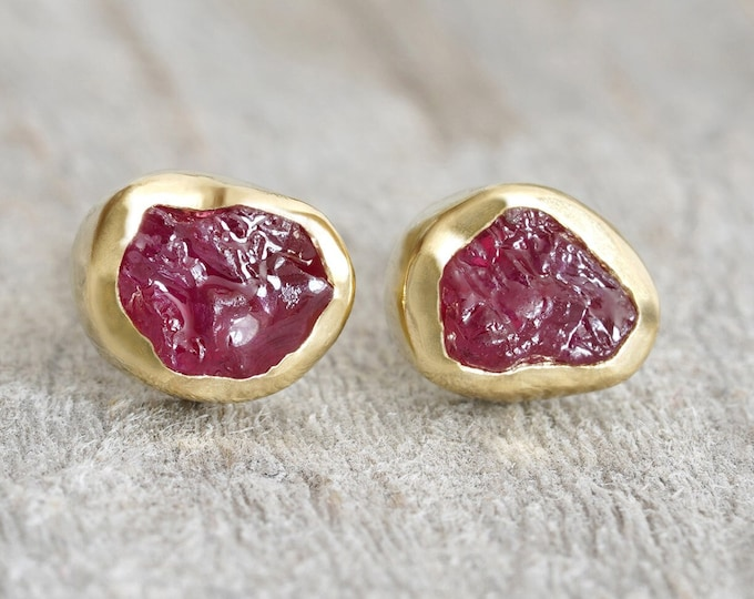 Rough Ruby Stud Earrings in 18ct Yellow Gold, Raw Ruby Stud Earrings, Rough Ruby Ear Posts